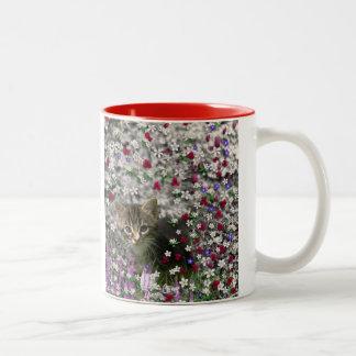 Emma in Flowers II, Little Gray Tabby Kitty Cat Two-Tone Coffee Mug