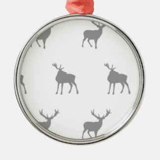 Emma Janeway Silver Grey Stags Metal Ornament