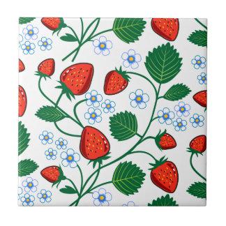 Emma Janeway Strawberries Ceramic Tile