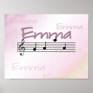 Emma Musical Name Nursery Room Poster print