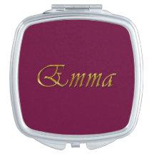 EMMA Name Branded Gift for Women Travel Mirror