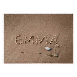 Emma Name in Beach Sand Writing Posters