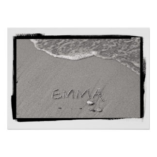 Emma Name in Beach Sand Writing Poster