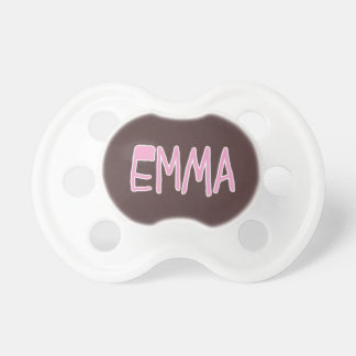 Emma Name Pink and Brown Baby Pacifier