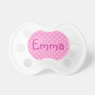 Emma on Pink Polka Dot Pacifier