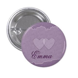 Emma Purple Hearts Name Badge Button