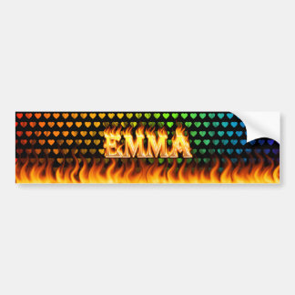 Emma real fire and flames bumper sticker design.