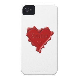 Emma. Red heart wax seal with name Emma iPhone 4 Cover