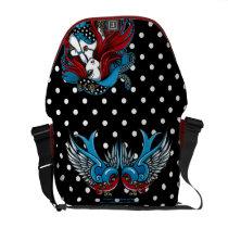 rockabilly, polkadots, tattoo, swallow, birds, red, blue, fairy, angel, faery, fae, fantasy, art, emma, mykajelina, Rickshaw messenger bag with custom graphic design