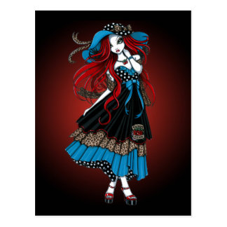 Emma Rockabilly Swallow Tattoo Angel Postcard