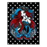 Emma Rockabilly Swallow Tattoo Angel Postcard