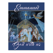 Emmanuel God with Us, Christmas Nativity Postcard