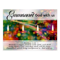 Emmanuel God with Us Matthew 1:23 Christmas Bible Postcard