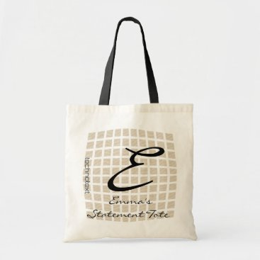 Professional Business Emma's Cool Checked Monogrammed Statement Tote
