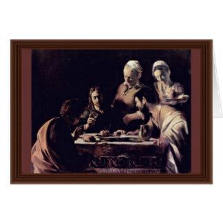 Emmausmahl By Michelangelo Merisi Da Caravaggio Greeting Card
