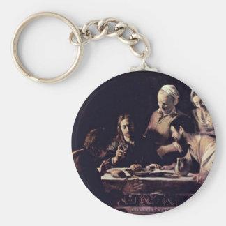 Emmausmahl By Michelangelo Merisi Da Caravaggio Basic Round Button Keychain