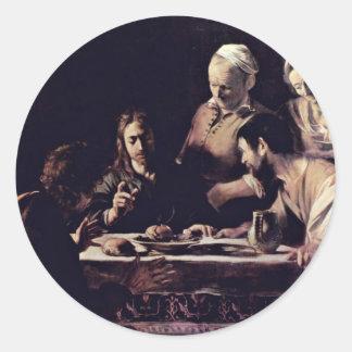 Emmausmahl By Michelangelo Merisi Da Caravaggio Classic Round Sticker