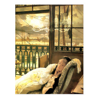 Emmeline Daydreaming in Gold and Yellow Postcard
