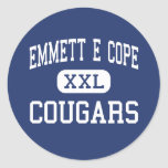 Emmett E Cope Cougars Middle Bossier City Round Stickers