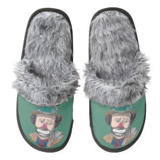 Emmett Kelly Clown Fuzzy Slippers Pair Of Fuzzy Slippers
