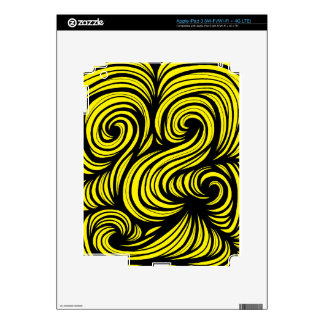 Emo Abstract Expression Yellow Black Skin For iPad 3