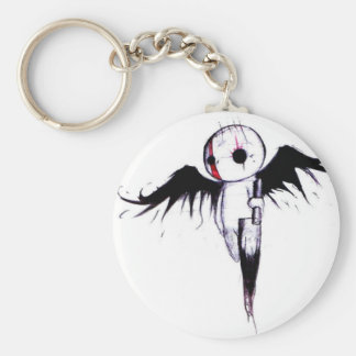 Emo Angel Basic Round Button Keychain