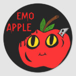 Emo Apple Pegatina Redonda