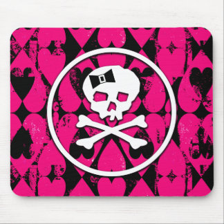 Emo Art Skull & Hearts Mouse Pad