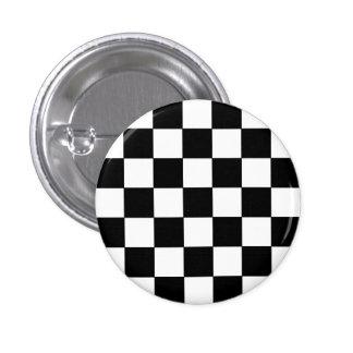 Emo Black & White Checkerboard 1 Inch Round Button
