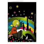 Emo Boy Under Muted Rainbow Greeting Cards