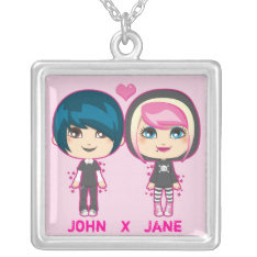 Emo Couple Silver Plated Necklace at Zazzle