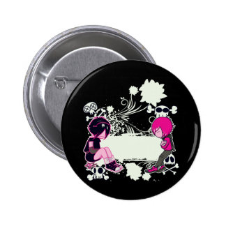emo deep thoughts vector illustration 2 inch round button