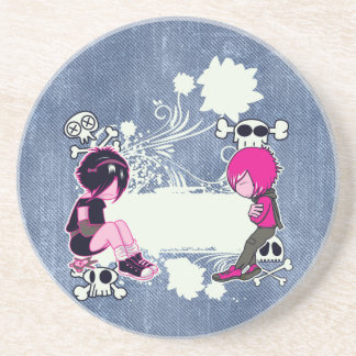 emo deep thoughts vector illustration coaster
