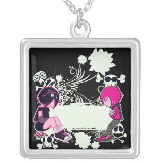 emo deep thoughts vector illustration square pendant necklace