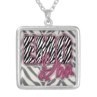 Emo diva zebra print necklace