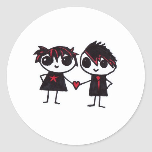 Emo en amor pegatina redonda