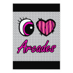 Emo Eye Heart I Love Arcades 5x7 Paper Invitation Card