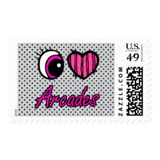Emo Eye Heart I Love Arcades Postage Stamp