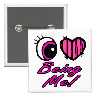 Emo Eye Heart I Love Being Me Pinback Button