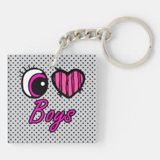 Emo Eye Heart I Love Boys Double-Sided Square Acrylic Keychain