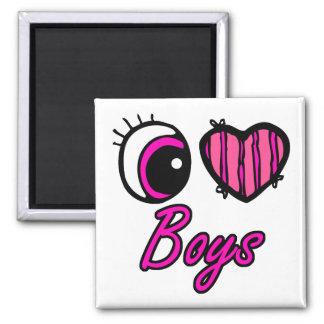 Emo Eye Heart I Love Boys Fridge Magnets