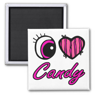 Emo Eye Heart I Love Candy 2 Inch Square Magnet