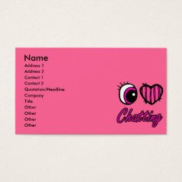 Emo Eye Heart I Love Chatting Business Card