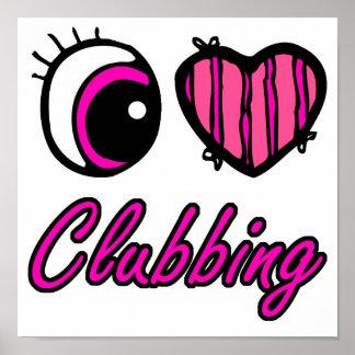 Emo Eye Heart I Love Clubbing Poster