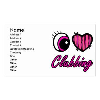Emo Eye Heart I Love Clubbing Business Card Templates