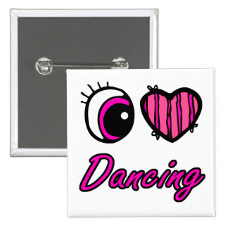 Emo Eye Heart I Love Dancing 2 Inch Square Button