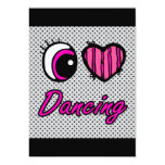 Emo Eye Heart I Love Dancing Personalized Announcements