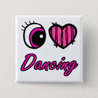 Emo Eye Heart I Love Dancing Pinback Button