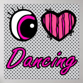 Emo Eye Heart I Love Dancing Poster