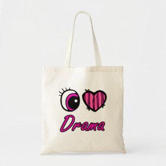 Emo Eye Heart I Love Drama Tote Bag